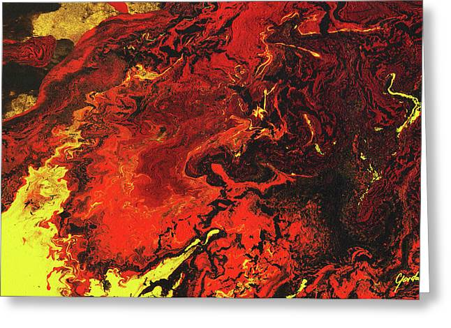 Fire Soul - Warm Tones Spiritual Abstract Painting Greeting Card