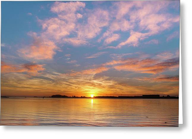 Fire Sunset On Humboldt Bay Greeting Card