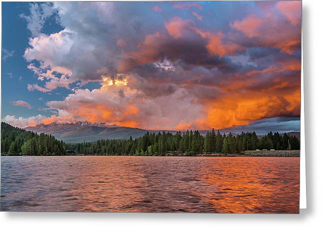 Fire Sunset Over Shasta Greeting Card
