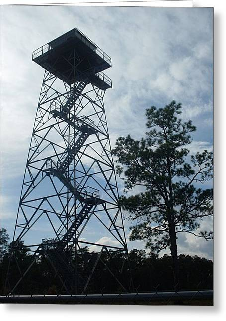 Fire Tower In The Forest Greeting Card by Warren Thompson