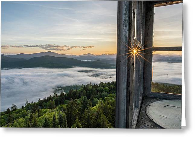 Fire Tower Sunburst Greeting Card