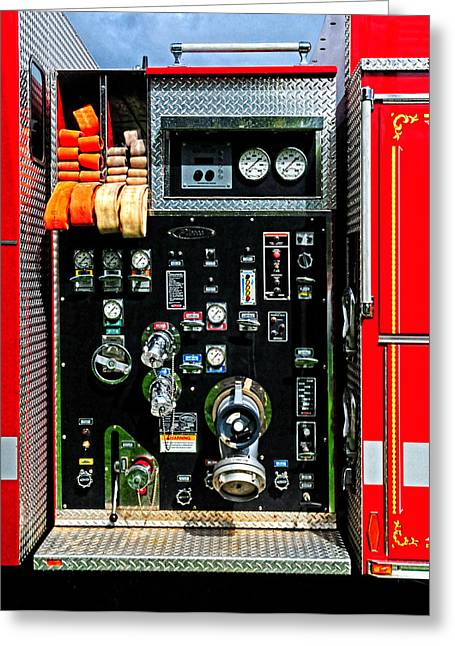 Fire Truck Control Panel Greeting Card by Dave Mills