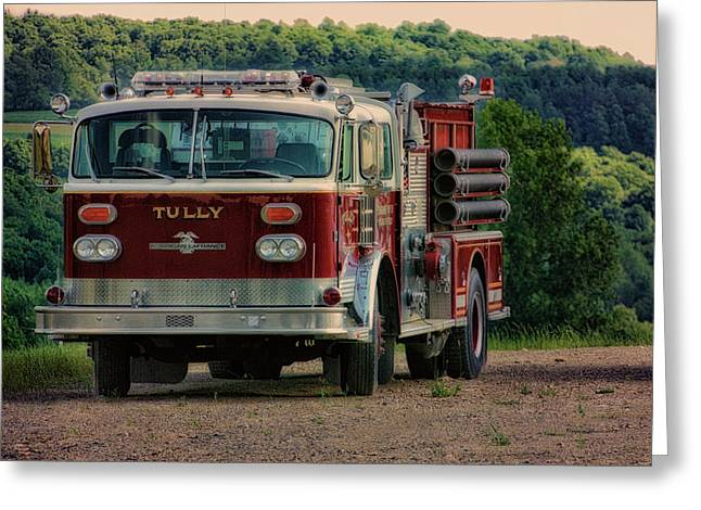 Fire Truck  Engine 13 Village Of Tully New York Pa Greeting Card
