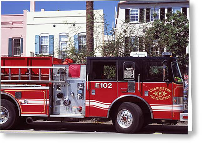 Fire Truck On The Road, Charleston Greeting Card