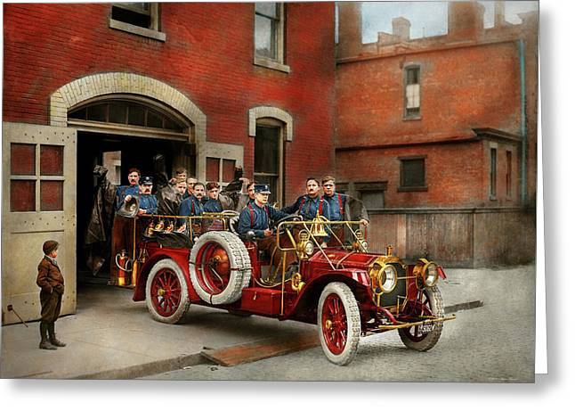 Fire Truck - The Flying Squadron 1911 Greeting Card by Mike Savad