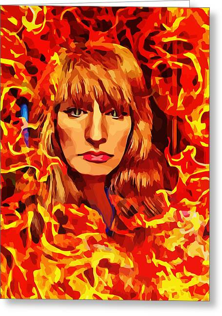 Fire Woman Abstract Fantasy Art Greeting Card