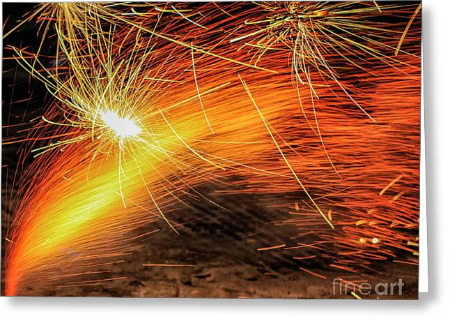 Fire Works Greeting Card by Patricia Hofmeester