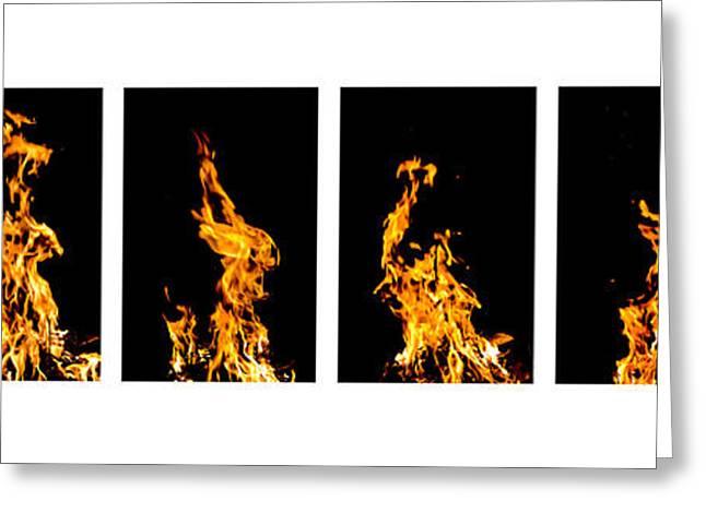 Fire X 6 Greeting Card by Tomasz Dziubinski