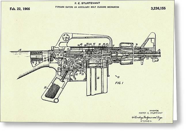 Firearm Having An Auxiliary Bolt Closure Mechanism-1966 Greeting Card by Pablo Romero