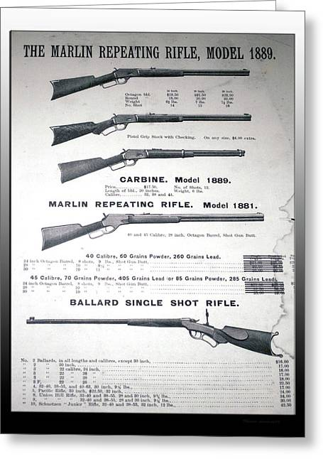 Firearms Marlin Repeating Rifle Model 1889 Poster Greeting Card by Thomas Woolworth