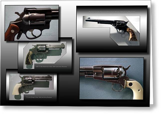 Firearms Revolvers Collage Greeting Card