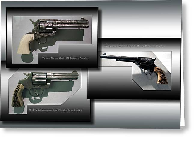 Firearms Tv Revolvers Collage Greeting Card