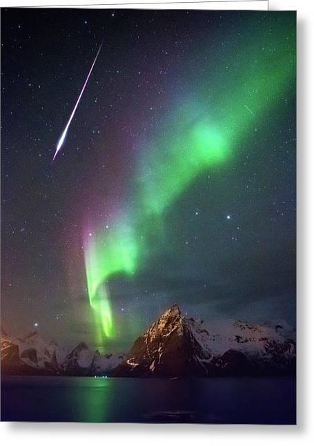 Fireball In The Aurora Greeting Card