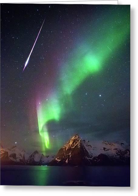 Fireball In The Aurora Greeting Card by Alex Conu