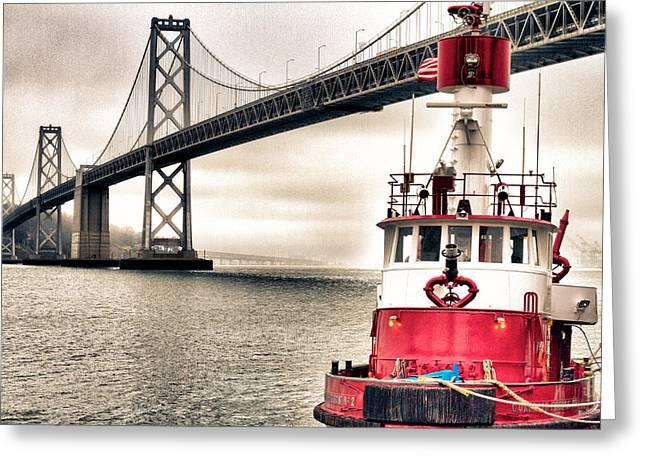 Fireboat And Bay Bridge Hdr Greeting Card