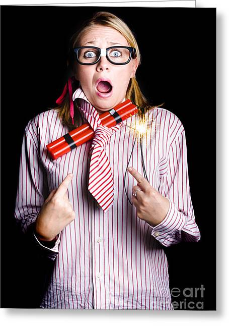 Fired Business Woman In Dynamite Fright Greeting Card