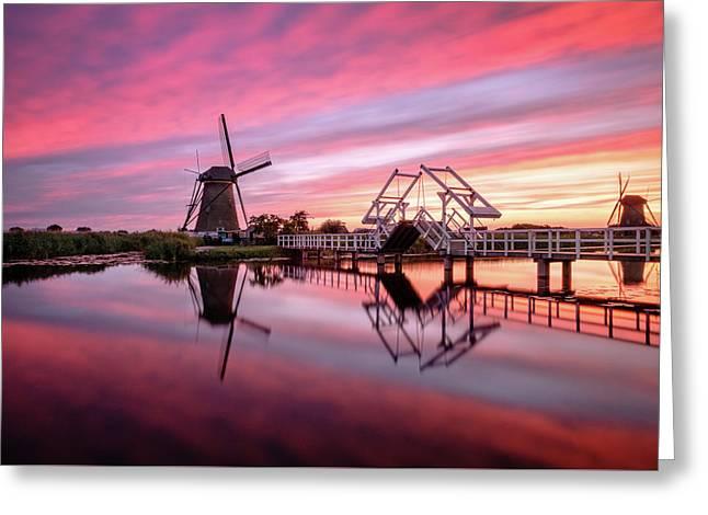 Fired Sky Kinderdijk Greeting Card