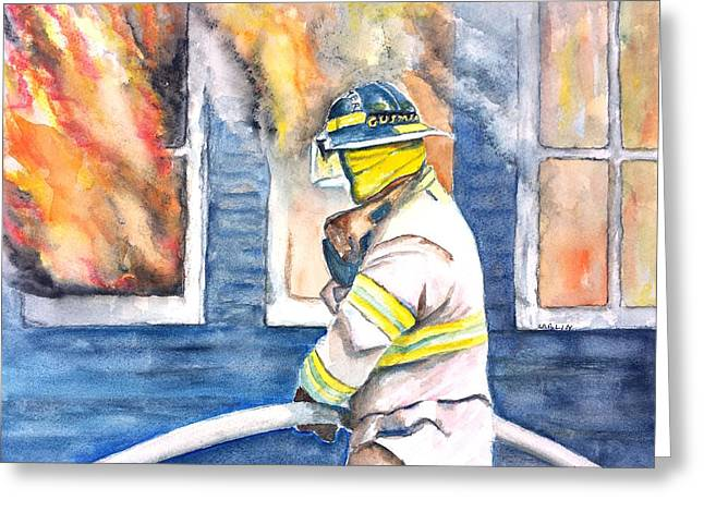 Firefighter Hero House Fire Greeting Card