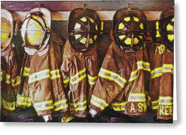 Greeting Card featuring the painting Firefighters Uniforms by Joan Reese