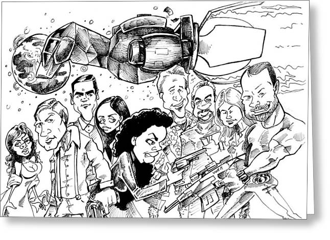 Slam Drawings Greeting Cards - FireFly Greeting Card by Big Mike Roate
