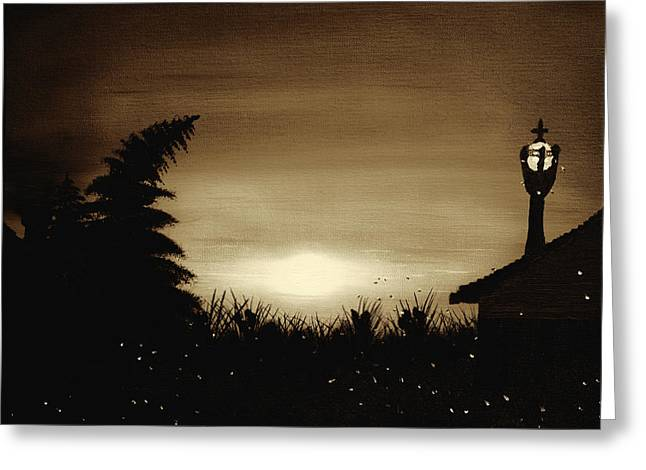 Firefly Frenzy - Sepia Greeting Card by Claude Beaulac
