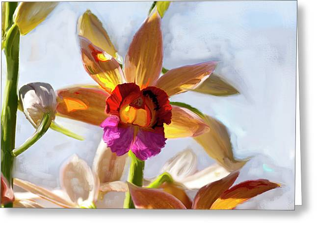 Exceptional Good Looking Art Greeting Cards - Firefox  Orchid Painting Greeting Card by Don  Wright
