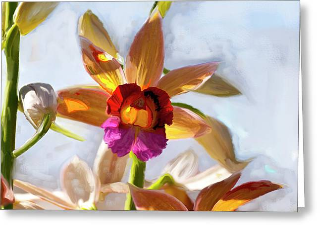 Firefox  Orchid Painting Greeting Card by Don  Wright
