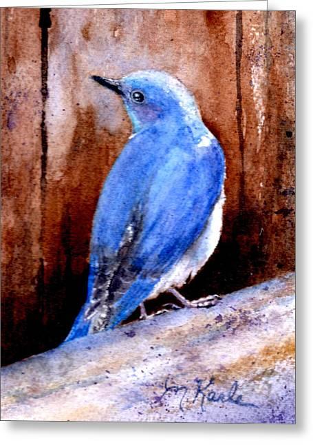 Firehole Bridge Bluebird - Male Greeting Card