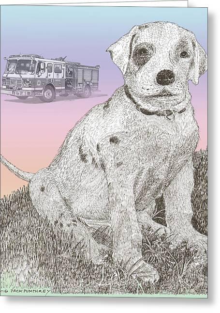 Firehouse Dalmatian Puppy Greeting Card by Jack Pumphrey
