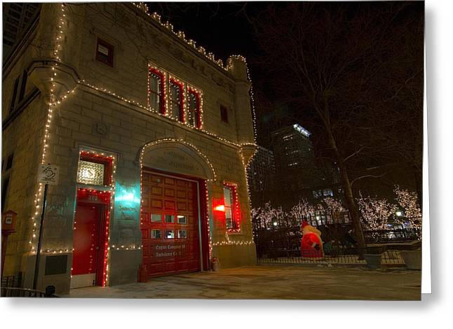 Firehouse In Xmas Lights Greeting Card