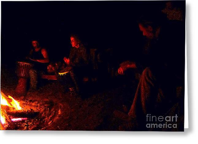 Firelight Drumming Greeting Card by JoAnn SkyWatcher