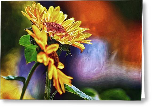 Greeting Card featuring the digital art Firelit Sunflowers by Doctor Mehta