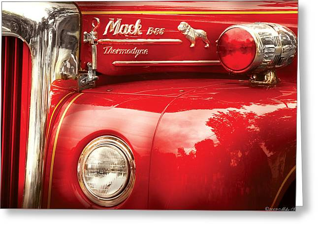 Fireman - An Old Fire Truck Greeting Card by Mike Savad