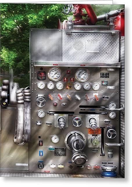 Fireman - Fireman's Controls Greeting Card by Mike Savad