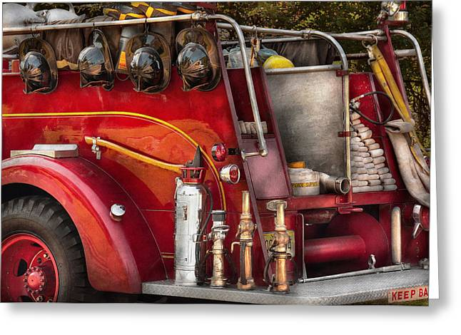 Fireman - Ready For A Fire Greeting Card by Mike Savad