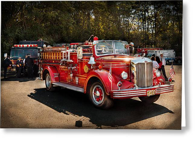 Fireman - The Procession  Greeting Card by Mike Savad