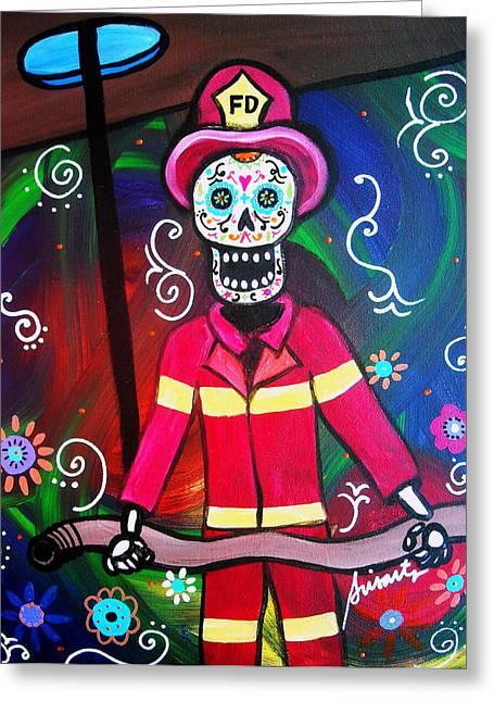 Fireman Dia De Los Muertos Greeting Card by Pristine Cartera Turkus