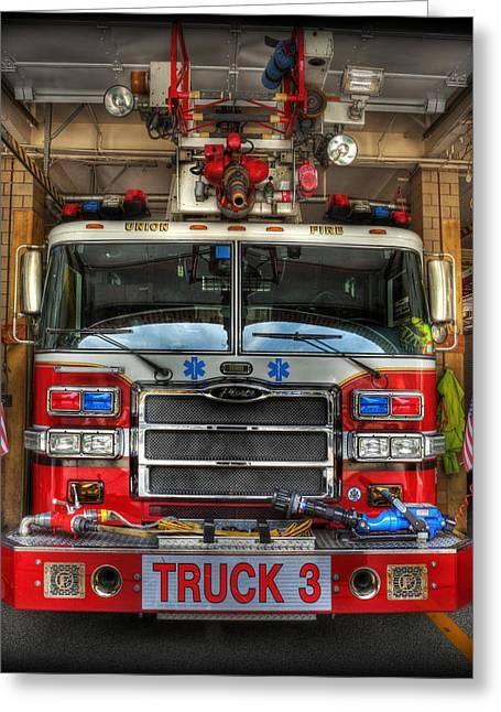 Fireman - Fire Engine Greeting Card