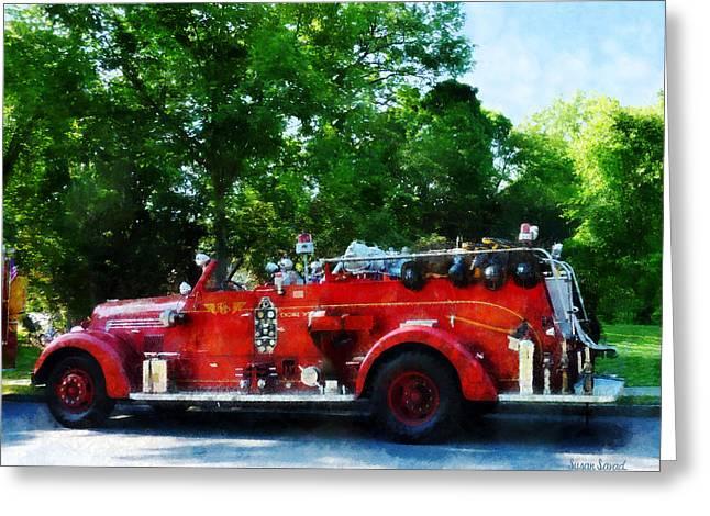 Fireman - Fire Engine Greeting Card by Susan Savad
