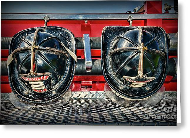 Fireman Helmets On The Truck Greeting Card
