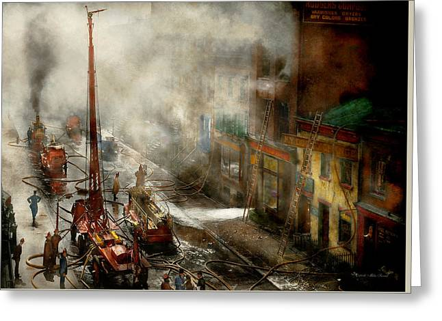 Fireman - New York Ny - Big Stink Over Ink 1915 Greeting Card by Mike Savad