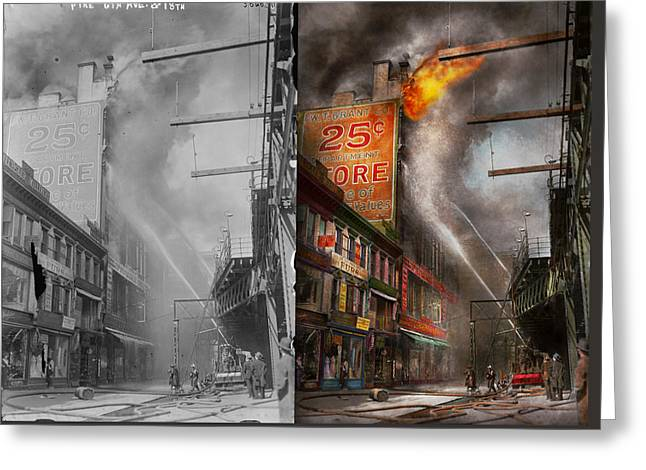 Fireman - New York Ny - Show Me A Sign 1916 - Side By Side Greeting Card by Mike Savad
