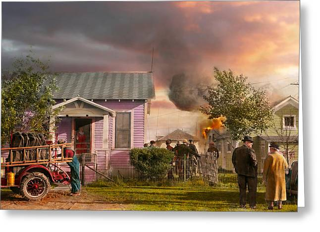 Fireman - Terry Montana - Volunteer Firefighters 1939 Greeting Card by Mike Savad