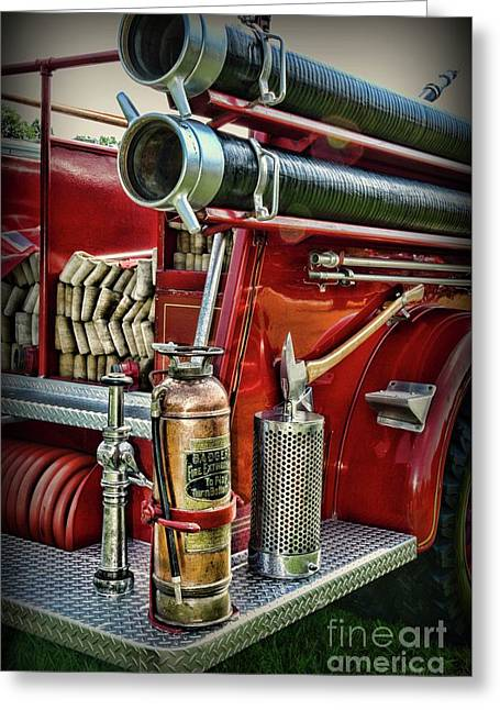 Fireman Things On The Truck  Greeting Card