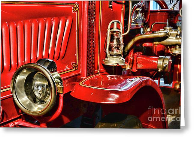 Fireman-vintage Fire Truck Greeting Card