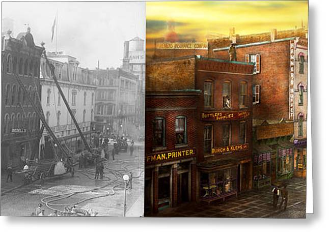 Fireman - Washington Dc - Fire At Bedell's Bedding 1915 - Side By Side Greeting Card