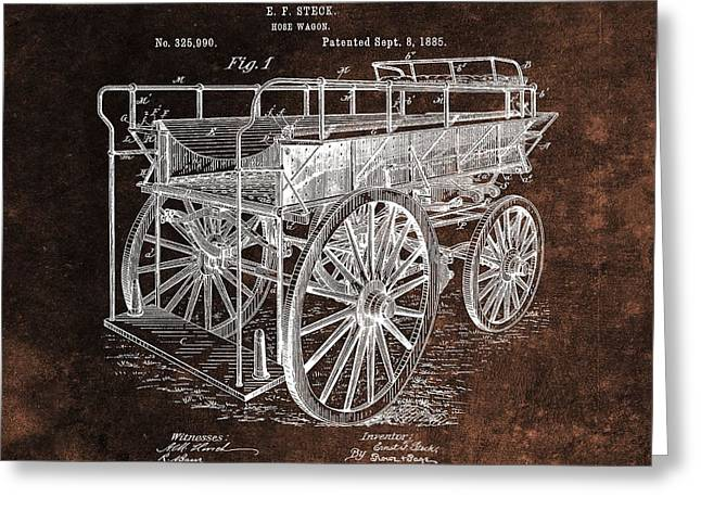 Fireman's Wagon Patent Greeting Card by Dan Sproul