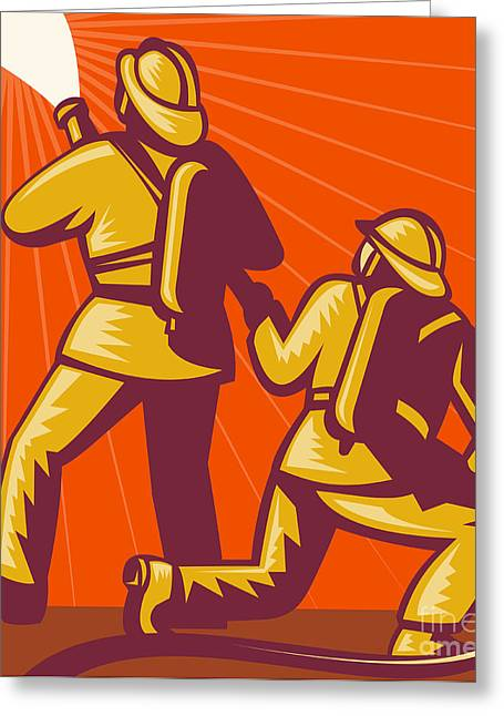 Firemen Aiming A Fire Hose Greeting Card by Aloysius Patrimonio