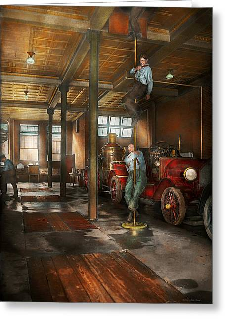 Firemen - Answering The Firebell 1922 Greeting Card by Mike Savad
