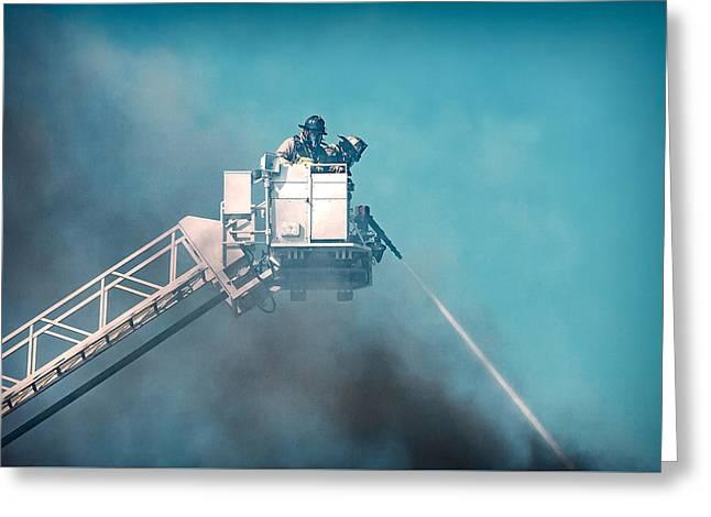 Firemen Dousing Flames  Greeting Card by Todd Klassy